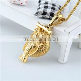 Stainless steel gold plated wholesale owl eagle gold pendant