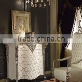 Louis XVI Style Vintage Furniture Luxury Bedroom White and Silver Color Chest of Five Drawers Cabinet