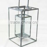 HOT!!! Square metal lantern with glass for garden