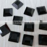 jet color Square shape flat back glass stones crystal loose beads for garment accessories