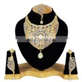 Wedding Designer Gold Plated Bollywood Party wear Jewelry Necklace Set White Color