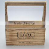 Accept custom burned effect silk printing logo wooden carrier for tool
