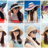 Foldable summer ladies straw hats for holiday women woven sun hats fashion beach paper straw weaving hats