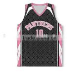 Women's pink and black color basketball jersey with names