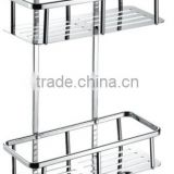 Stainless steel bathroom shelf, stainless steel dual tiers rack with hooks, 741-2