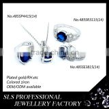 Wholesale fashion sapphire jewelry custom 925 silver jewelry rings earrings pendant jewelry sets