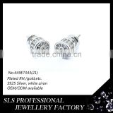 Hip-hop jewelry single stone screw back white gold plated 925 sterling silver earrings for men