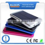 long lifetime 5000mah solar power bank for iPhone iPad Samsung HTC BlackBerry Huawei with CE/FCC/RoHS Mark