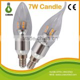 Promotional dimmable and non-dimmable candle led lamp 5w 7w e27 e14 e12 led candle light bulbIvory Remote Led Candle Light