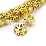 Gold Plated Citrine Color #249 Rhinestone Jewelry Rondelle Spacer Beads Variation Color and Size 4mm/6mm/8mm/10mm