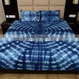 Indian Shibori Bedspread Cotton Tie Dye Indigo Bedding Handmade Bed Cover With Two Pillow Covers