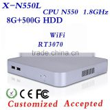 Fan Mini Pc N550 8g Ram 500g HDD Thin Client Computer Desktop PC Office Computer Game Keyboard And Mouse