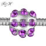 Metal Round Crystal Rhinestone Beads for Jewelry DIY Making fit chain bracelet