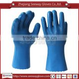 Seeway Oilfield Cotton Lined Blue Color Chemical Resistant Industrial Nitrile Work Rubber Gloves