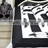 Hand Embroidered Silk BEDSHEET complete Set B&W Style
