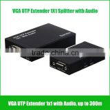 300m VGA Extender with audio VGA UTP extender 1x1 with Audio over cat5e/6 up to 300M with power supply