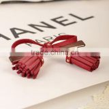 Fashion Suede Fabric Cloth Bow Hairpin Tassel Pendant Duckbill Clip Fringe Side-Knotted HairClip Accessories Barrettes For Women