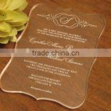 2016 newmengxing Clear Acrylic Wedding Invitation Die cut shaped                                                                         Quality Choice