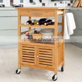 OPX new design 100% Bamboo 3 tiers Kitchen Trolley with wheel Kitchen Storage Rack with Cabinet