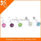 wholesale custom personalized flat epoxy crystal fake tongue rings