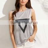 T-shirts latest fashion design women clothing Grey Triangle Print Drop Armhole Sleeveless T-shirt