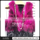 High Quality Fringed leather vest raccoon fur fight