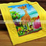 baby blanket Cartoon animal embroidered kids coral fleece blanket with bright color