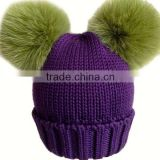 New Design Knitted Wool Baby Beanie Hat with Two Fox Fur Pom poms Balls for Cute Baby