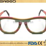 Custom case colourful wood frame polarized wooden sunglasses colouful bamboo optical eyewear glass
