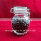 airtight storage glass jar with glass lid clamp