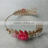 American handmade ceramic flower hair hoop pearl headband wedding banquet necessary hairbands hair accessories FHHBC4002