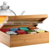 hot selling FSC&BSCI bamboo wooden tea bags storage chest gift box for table