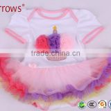 Organic Cotton Baby Girls Lace Dress Sets Short Sleeve Clothing Embroidered With Cake Pattern