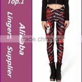 2015 Fitness sport Digital Print Fashion High Waist Leggings Knitted Polyester Oem Custom Design Woman Legging Black Milk
