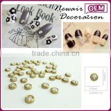 New Air 2015 Hot Sale 3D Round Glod Frame Nail art DIY Decoration Jewelry fake Nail Art Decoration