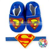 2016 Beautiful Royal Blue Boy Shoes Set With Headband Super Man Symbol Children Shoes For Boy Baby Crib Shoes Wholesale