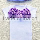 Newborn Take Home Outfit Couture Bodysuit & Beanie with Lavender Purple Satin Rosettes Spring Summer Newborn Girl Outfit