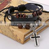 Factory price retro handmade alibaba leather mens bracelets