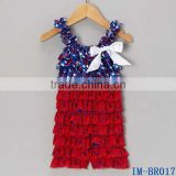 Boutique Remake Girls July 4th Clothes Wholesale Infant Kids Blue Red Star Ruffle Rompers IM-BR017