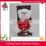 white plush stuffed bear soft toy, teddy bear shaped plush valentine day bear with heart for girl