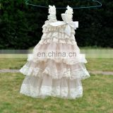 Vintage Baby Girls Dress ,Ivory Rustic Layered chiffon Baby Dress ,Flower Girls dress