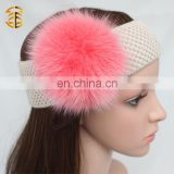 Factory direct supply ladies headbands girl headband with fur pom pom