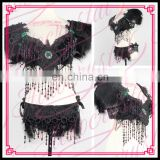 Aidocrystal wholesale black feather sexy bra and panty set girls night club dance wear