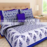 Blue Cotton Double Bed Sheet With 2 Pillow Cover