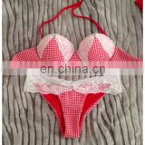 Red Lace padded swimsuit bikini swimwear