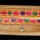 Exclusive Indian Handmade Embroidered Multi Color Pure Leather Hand Clutch Purse Leather Hand Clutch Purse