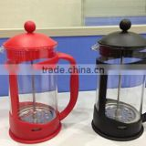 colorful plastic french coffee press, PP plastic coffee plunger, french coffee press with stainless steel filter