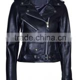 Black Color Smart Range Women's Brando Classic Motorcycle Genuine Cowhide Leather Jacket