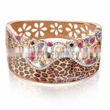 women fashion cuff bangle leopard stylist crystal 18k rose gold filled american diamond bangles