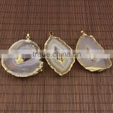 JF6929 Wholesale geode agate slice pendant with amethyst,double gemstone druzy pendants